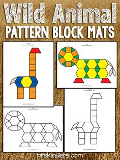 These Wild Animal Pattern Block Mats build visual and spatial skills. Well, if you read my post last week, you know I was planning to make more play dough mats, however… my kids were really interested in the pattern blocks this week. While they were makin Preschool Zoo Theme, Math Activities, Preschool Activities, Animal Activities For Kids, Dear Zoo, Pattern Block Templates, Pattern Blocks, 2 Kind, Zoo Animals