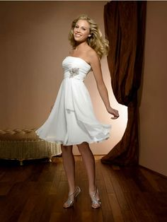 A-line Strapless Knee Length Short Chiffon Informal Wedding Dresses Bridesmaid Dresses Cheap 1001063 Informal Wedding Dresses, Informal Weddings, White Wedding Dresses, Cheap Wedding Dress, Designer Wedding Dresses, Bridal Dresses, Wedding Gowns, Bridesmaid Dresses, Wedding Reception