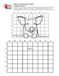 5 PACK Animal Grid Drawing Worksheets for Middle and High Grades Drawing Grid, Drawing Sheet, Easy Art Lessons, Drawing Lessons, Art Worksheets, Coloring Worksheets, Number Worksheets, Messy Art, 6th Grade Art