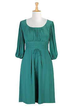 Ruched pleat georgette peasant dress - Sea Green I absolutely LOVE this Peasant dress, though I despise elastic cuffs :/  This is gorgeous! (See page for notes on dress and fabric.) www.eshakti.com  $64.95