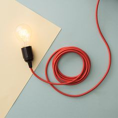 Textile Light Cable - Lt Red - by Danlamp #MONOQI