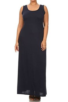 Vialumi Womens Junior Plus Solid Sleeveless Scoopneck Maxi Dress Navy Small *** Click image to review more details. Note: It's an affiliate link to Amazon.
