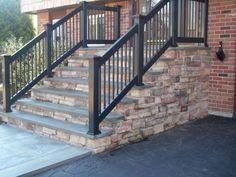 front porch railing for concrete porch Handrails For Concrete Steps, Concrete Front Steps, Brick Steps, Concrete Porch, Stone Steps, Front Porch Railings, Front Stairs, Entry Stairs, Porch Handrails