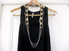 DIY Fiona Paxton Necklace | Thanks, I Made It  I had never heard of Fiona Paxton before I saw this DIY but I'm now a big fan! Statement necklaces like these aren't for everyone, but I love them - they instantly dress up a plain dress. If you don't dig geometric prints, you could go with floral trim with a pretty gold chain. Actually I think I'll make both!