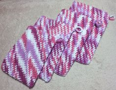 Pot holders crocheted by me using Bernat Handicrafter yarn