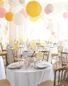 Because helium is getting harder to come by, hanging them from the ceiling is not only cheaper, the look is different than the standard balloon cluster in the middle of the table.