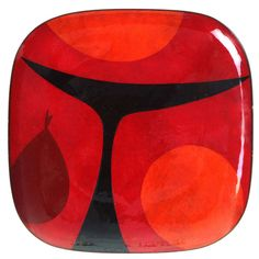 View this item and discover similar more furniture and collectibles for sale at - An striking and unique enamel on copper plate by Mexican modernist Miguel Pineda having a well rendered abstract design in golden brown, reds, oranges, Mid Century Modern Art, Mid Century Art, Mid Century Design, Vitreous Enamel, Copper Dishes, Enamel Jewelry, Diy Jewelry, Art For Art Sake, Metal Crafts