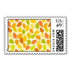 Oak tree autumn leaves postage stamps  #postage #stamp #stamps #zazzle #leaves #floral #leaf #nature