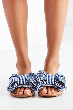 Gingham Bow Slides
