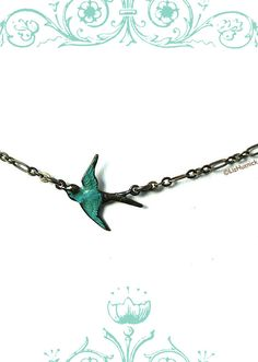 Teal Sparrow Necklace. Antiqued Brass Chain and by LizHutnick