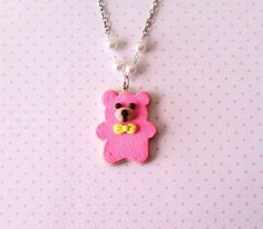 Bear Cookie necklace polymer clay by FlowerChildCharms on Etsy