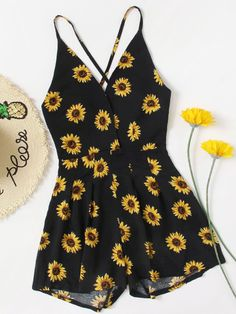 Shop Daisy Print Random Crisscross Open Back Surplice Romper at ROMWE, discover more fashion styles online. Teenage Outfits, Teen Fashion Outfits, Trendy Outfits, Girl Outfits, Tween Fashion, Girl Fashion, Mode Rockabilly, Black Romper, Cute Summer Outfits