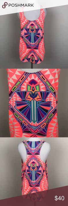 """[Mara Hoffman] Cosmic Fountain Neon Racerback Tank Bold neon graphic print tank. Pullover style. Loose fit. Scoop neck. Racerback.   🔹Pit to Pit: 18"""" 🔹Length: 26"""" 🔹Condition: Excellent pre-owned condition.  *AD5 Mara Hoffman Tops Tank Tops"""