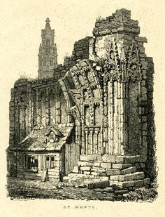 At Mente - A small house attached to the inner wall of a ruined church, with remains of a pillar at the corner at right, with intricate tracery and elaborate decoration; church tower in background at left.  1822    Lithograph