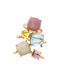 Known for creating jewelled masterpieces, exclusive Tiffany designer Paloma Picasso adds to her vibrant ring collection, Paloma's Sugar Stacks, with pavé gemstones that are as big and luscious as the cabochon gems that launched the collection. See some of her stunning designs on The-SocialLife.com