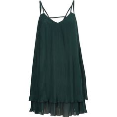 River Island Dark green pleated cami slip dress ($84) ❤ liked on Polyvore featuring dresses, green, slip / cami dresses, women, v neck dress, sleeveless dress, green cami, v-neck camisoles and cami slip dress
