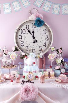Cute idea for Alice in Wonderland tea party Love the clock centrepiece.