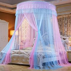 CTYJS Dome Princess Bed Canopy,Round Lace Mosquito Net Play Tent,Romantic Ruffle Netting Curtains,Portable Bed Drapes,for Home Decoration Travel C Pink Bedroom Decor, Bedroom Drapes, Canopy Curtains, Bedroom Vintage, Diy Lace Canopy, Canopy Tent, Bunk Bed Tent, Twin Canopy Bed, Princess Canopy Bed
