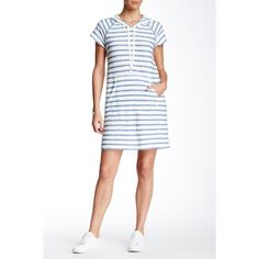 Max Studio Stripe Hoodie Dress ($40) ❤ liked on Polyvore featuring dresses, short sleeve cotton dress, max studio, short-sleeve dresses, cotton dresses and striped cotton dress