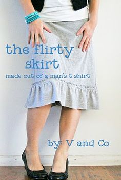 v and co tutorials: The Flir-TEE (flirty) Skirt - made from a mans shirt. Sewing Tutorials, Sewing Hacks, Sewing Crafts, Sewing Projects, Sewing Clothes, Diy Clothes, T-shirt Rock, Shirts, Skirt Tutorial