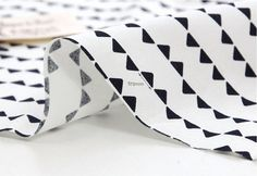 Black and White Mini Triangles Cotton Fabric  By the by landofoh