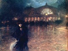 Woman on a Paris Street at Night, 1924, oil on canvas, private collection - Lionello Balestrieri (Italian, 1872 - 1958)