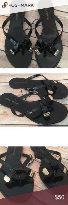 👣Ivanka Trump BlackBow GLD Rhinestone JellySandal ✅❤️❤️👣see addtl listing for more pics❤️❤️👣👣added April 5❤️❤️👣👣👀✅ Ivanka Trump Jelly Sandals aka Flip Flops w Black Bows Embellished w Gold Tips & Rhinestones. sold out everywhere.  Authentic. Brand new. Never worn. Great for the pool or the beach. Matches everything.💜THESE ARE GORGEOUS!!!. You will not be disappointed. Price firm❤️only have multiple size 8 s ❤️sold out of the others🌸price firm Ivanka Trump Shoes