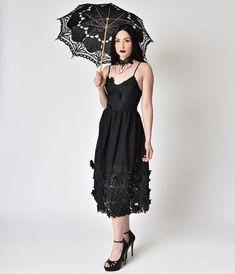 d5ca4c6d2c4 Vintage Style Black Lace Sleeveless Tea Dress – Unique Vintage Vintage Tea  Party Dresses