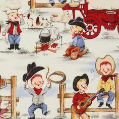 VINTAGE fabrics | Michael Miller vintage fabric cowboy boys - Children Fabric - Fabric ...