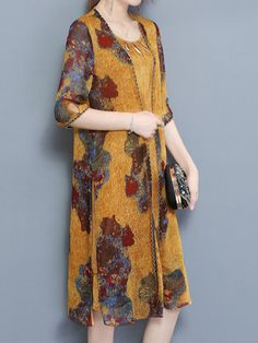 Specification: Sleeve Length:Half Sleeve Neckline:O-Neck Color:Yellow Style:Vintage Length:Knee Pattern:Printed Material:Cotton Season:Summer Package included: Cheap Dresses, Casual Dresses, Fashion Dresses, Hawaiian Skirt, Yellow Fashion, Half Sleeves, Chic Outfits, Latest Fashion Trends, Dresses Online