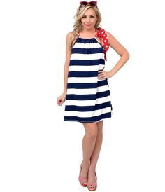 PinUp Swim Cover Up   #4thofJuly #uniquevintage   Red, White & Navy Blue Nautical Stripe & Dot Tie Swim Cover Up
