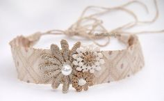 Jaquard strip band  Embroidery flower headband  by BeeTeeBoutique, $8.00 - newborn photography props