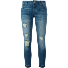 Michael Michael Kors Denim Cropped Jeans ($165) ❤ liked on Polyvore featuring jeans, pants, bottoms, navy, denim jeans, vintage denim jeans, blue denim jeans, blue wash jeans and distressed jeans