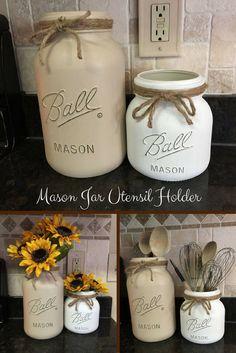 Extra large Mason jar utensil holder set/Farmhouse kitchen decor/Utensil storage containers/Kitchen counter top decor/Rustic kitchen jars (affiliate)