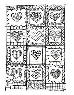 Adult Colouring Page:Original Hand Draw Art by LittleShopTreasures Bible Doodling, Valentines Art, Coloring Book Pages, Doodle Art, Heart Doodle, Heart Art, Embroidery Patterns, Zentangle Patterns, Art Lessons