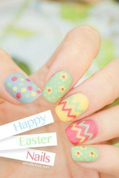Easter nails! Happy Easter nails. Click through for a quick how to & more pix #nailart #easter