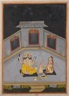 Lady Worshipping God Brahma - Rajput Ragamala Painting from a Manuscript, Circa 1800. For more high resoluton Indian artworks please visit http://oldindianarts.in