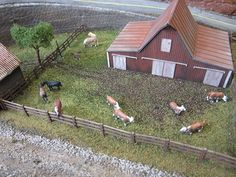 These are Great N Scale Horse Figures to Add to the Farm of a Model Train Layout. http://www.hobbylinc.com/woodland-farm-horses-n-scale-model-railroad-figure-a2141