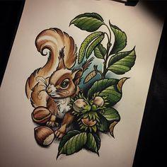"""ถูกใจ 465 คน, ความคิดเห็น 14 รายการ - Ma Reeni (@ma_reeni) บน Instagram: """"❤️ Samstag gibts was süßes  #animals #squirrel #tattoodesign #sketch #girlswithtattoos…"""""""