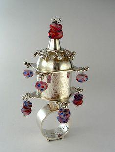 "Ring | Kathryn Wardill.  ""Jewish Betrothal, 1997"".  Silver, glass"
