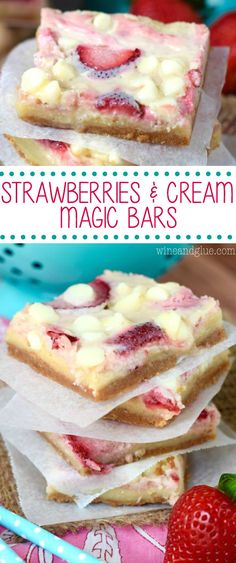 - These Strawberries and Cream Magic Bars are pure magic. Made with fresh strawber… These Strawberries and Cream Magic Bars are pure magic. Made with fresh strawberries and a sugar cookie layer, they are seriously amazing! 13 Desserts, Delicious Desserts, Yummy Food, Alcoholic Desserts, Healthy Food, Cake Bars, Dessert Bars, Baking Recipes, Cookie Recipes