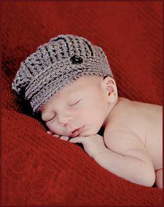 Baby Newsboy Cap, Baby Boy Hat, Newborn Crochet Hat, Crochet Baby Hat. $24.00, via Etsy.