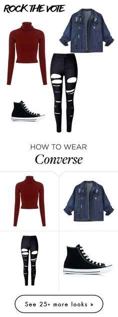 """""""Rock the vote"""" by gracemayflower on Polyvore featuring A.L.C., WithChic and Converse"""