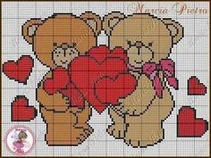 Teddy bear with Hearts x-stitch Cross Stitch Cards, Cross Stitch Rose, Cross Stitching, Afghan Crochet Patterns, Cross Stitch Patterns, Perler Bead Emoji, Pinterest Cross Stitch, Pixel Art Templates, Plastic Canvas Crafts