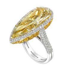 Pear shape Fancy Intense Diamond Ring by DeGem