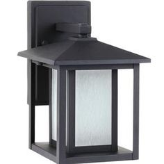 89029BLE-12,Fluorescent Hunnington One Light Small Outdoor Wall Lantern in Black with Seeded Etched Glass,Black