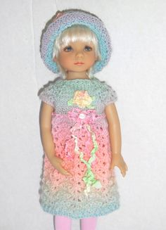 """Pastel Hand Knitted Outfit for 13"""" Effner LIttle Darling Doll by handmeups on Etsy https://www.etsy.com/listing/234451918/pastel-hand-knitted-outfit-for-13-effner"""