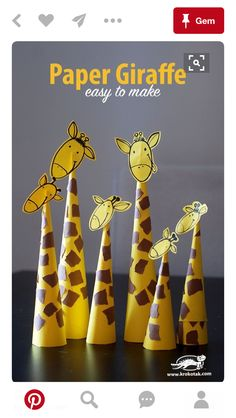 Paper Giraffes – so easy to make Basteln mit Papier - Tiere basteln - diesmal Giraffen. Preschool Jungle, Jungle Crafts, Giraffe Crafts, Safari Animal Crafts, Animal Crafts For Kids, Paper Crafts For Kids, Diy For Kids, Easy Crafts, Paper Crafting