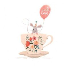 Adorable party mouse in a tea-cup and a balloon with love