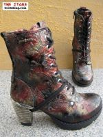 """""""Talida"""" black red/gold/punched - The Store, Westernstiefel, Bikerboots, Cowboyboots, New Rock Boots, Leder / Biker / Gothic Shop"""